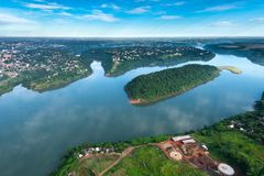 Aerial view of Parana River. On the border of Paraguay and Brazil Stock Photos