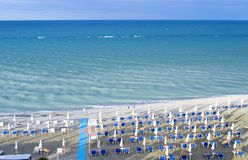 Aerial view of parasols and beachline in Marotta. For travel and holiday concepts Royalty Free Stock Image