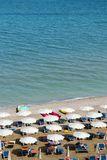 Aerial view of parasols and beachline in Marotta. For travel and holiday concepts Stock Photos