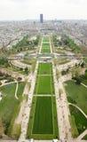 Aerial view of Parc du Champs de Mars in Paris Royalty Free Stock Image