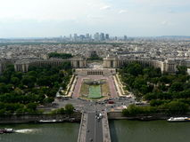 Aerial view of Paris. Aerial view of city of Paris showing Trocadero gardens and Palais de Chaillot in La Defense district, France royalty free stock image