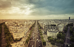 Aerial view of Paris from the Arc de Triomphe. Paris - light leak Royalty Free Stock Photography