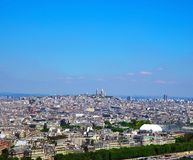 Aerial view of Paris architecture from the Eiffel tower. city panorama.  Royalty Free Stock Photo