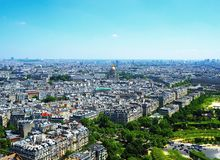 Aerial view of Paris architecture from the Eiffel tower. city panorama, Hôtel des Invalides, la Défense. France.  Stock Photos