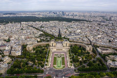 Aerial view of Paris architecture from the Eiffel tower. Stock Photography