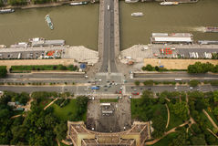 Aerial view of Paris architecture from the Eiffel tower. Stock Image