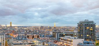 Aerial view of Paris. Buildings and skyline at sunset, France.  Stock Images