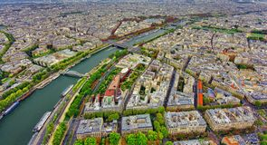Aerial view of Paris city and Seine river. From Eiffel Tower Stock Photo