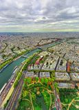 Aerial view of Paris city and Seine river. From Eiffel Tower Stock Photography