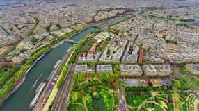 Aerial view of Paris city and Seine river. From Eiffel Tower Stock Images