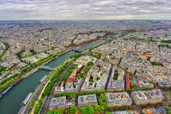 Aerial view of Paris city and Seine river. From Eiffel Tower Royalty Free Stock Images