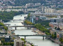 Aerial view of Paris city and Seine river. From Eiffel Tower. France Royalty Free Stock Photography