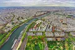 Aerial view of Paris city and Seine river. From Eiffel Tower Royalty Free Stock Photo