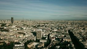 Aerial establishing shot of Paris involving the Eiffel tower, France stock video footage