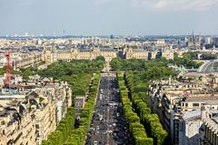 Aerial view of Paris cityscape with Avenue des Champs-Elysees. P. Paris, France - July 01, 2017: Aerial view of Paris cityscape with Avenue des Champs-Elysees Royalty Free Stock Photos