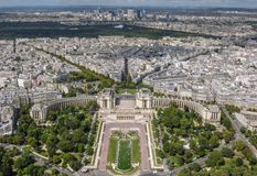 Aerial view of Paris cityscape featuring the Trocadero Gardens in the foreground stock photos