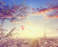 Aerial view of Paris cityscape with Eiffel tower at sunset Stock Image