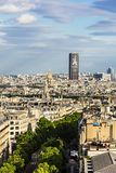 Aerial view of Paris cityscape with Montparnasse Tower and Les I. Paris, France - July 01, 2017: Aerial view of Paris cityscape with Montparnasse Tower and Les Stock Images