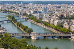 Aerial view of Paris Cityscape and Seine River Stock Photos