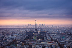 Aerial view of Paris at dusk Stock Images