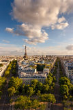 Aerial view of Paris and the Eiffel Tower Stock Images