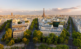 Aerial view of Paris and Eiffel Tower Royalty Free Stock Photography