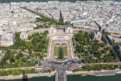 Aerial view of Paris on Eiffel Tower Stock Photography