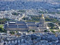 Aerial view of Paris from the Eiffel tower overlooking the Invalides house royalty free stock images
