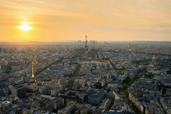Aerial view of Paris with Eiffel tower in Paris, France Royalty Free Stock Photos