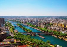 Aerial view of Paris with aerial view from Eiffel tower - the Seine river and residential buildings Stock Image