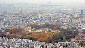 Aerial view on Paris, featuring Luxembourg gardens capital of France stock photos