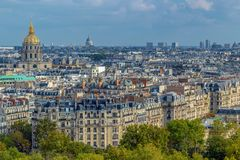 Aerial view of Paris, France, with buildings, roofs and Dome des Stock Photo