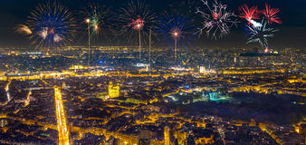 Aerial view of Paris, France with fireworks in the sky. Stock Images