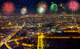 Aerial view of Paris, France with fireworks in the sky. Stock Photos