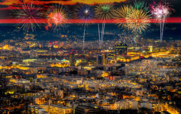 Aerial view of Paris, France with fireworks in the sky. Stock Photography