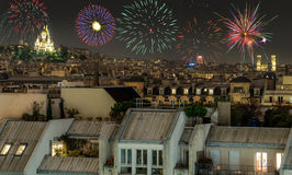 Aerial view of Paris, France at night. Stock Image