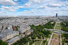 View of Paris including the Champ de Mars and Les Invalides Royalty Free Stock Photos