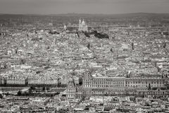 Aerial view of Paris with Louvre and Sacre Coeur Basilica Royalty Free Stock Images