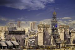 Aerial view of Paris from Montparnasse Tower. Royalty Free Stock Images