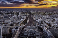 Aerial view of Paris from Montparnasse Tower. Royalty Free Stock Photography