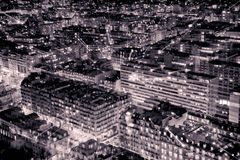 Aerial View of Paris in the Night. Black and White Royalty Free Stock Photo