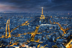 Aerial view of Paris at night Royalty Free Stock Photography