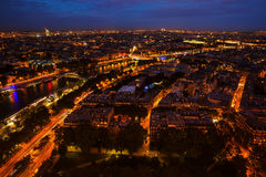 Aerial view of Paris at night. Aerial view of Paris, France, at night Stock Photos