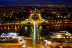 Aerial view of Paris at night. Aerial view of the Seine and the Trocadero Square in Paris, France, at night Stock Images