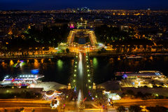 Aerial view of Paris at night. Aerial view of the Seine and the Trocadero Square in Paris, France, at night Royalty Free Stock Photos