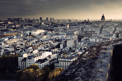Aerial view of Paris from Notre-Dame Cathedral. Royalty Free Stock Photos