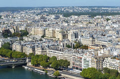 Aerial view of Paris. View of Paris and river Seine from the Eiffel tower Royalty Free Stock Photography