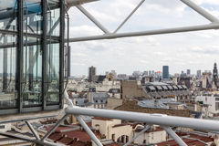 Aerial view of Paris from roof terrace of Centre Pompidou Royalty Free Stock Photo