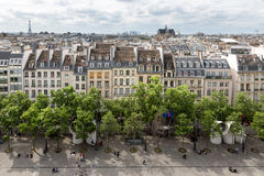 Aerial view Paris from roof terrace of Centre Pompidou, Paris Royalty Free Stock Photos