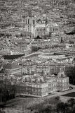 Aerial view of Paris rooftops with Notre Dame Cathedral, France Stock Photography